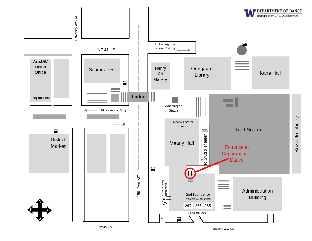 Map of UW Meany Hall Department of Dance building