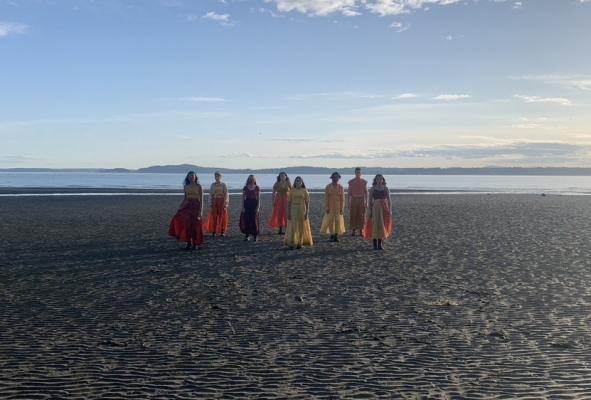 dancers on a beach walking