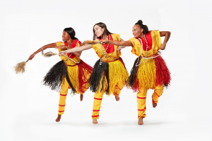 3 dancers perform traditional Benin dance by Kawasaki guest artist Etienne Cakpo