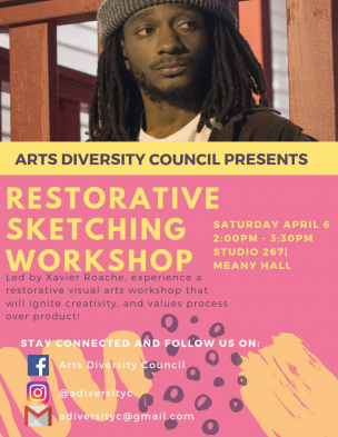 A pink flyer for Restorative Sketching Workshop