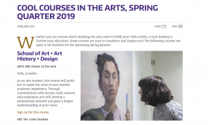 "photo of Colege and Arts & Sciences article, ""Cool Courses in the Arts"""