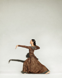 Erin in brown dress lunging with arm out