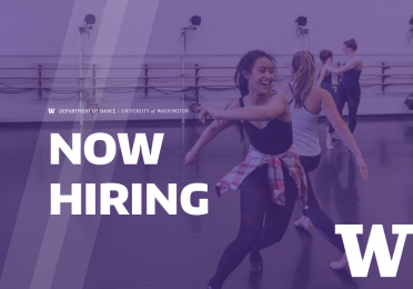 """image of dancers in studio with white text, """"Now Hiring,"""" and UW logo."""