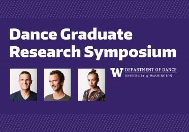 """White text on purple background """"Dance graduate research symposium."""" Head shots of Alexander Olivieri, Roel Seeber, and Alia Swersky."""