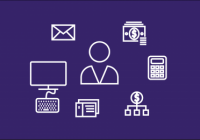white icons related to administrated tasks on purple background