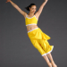 Lady in yellow jumps with arms in wide 'V' shape and legs straight and together.